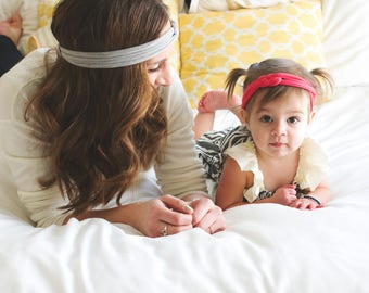 Mommy and Me Headwraps - Mommy Headbands - Mommy and Me Set - New Mom Headband - Top Knot Headbands - Jersey Headwraps -  Top Knot Set