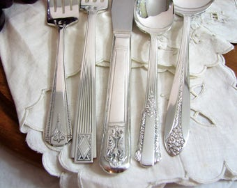 Silverplate Flatware, Vintage Art Deco Mismatched Traditional 5-Piece Place Setting Set th26, Antique Silver Plate Silverware, Fine Dining