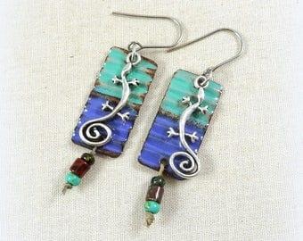 Purple and Blue Earrings, Two Tone Crinkle Enamel Earrings, Artisan Boho Corrugated Charm Earrings, Artisan Earrings, Lizard Charm Earrings