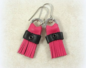 Pink and Black Leather Earrings - Hot Pink Leather Earrings, Short Leather Dangle Earrings, Pink and Black Earrings - Pink Fringe Earrings