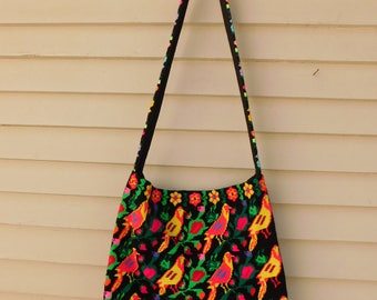 Vintage Needlpoint Embroidered Birds Crossbody Bag, Festival Purse, Hippie Bag, Neon Cross Stitch Purse, Colorful Tote