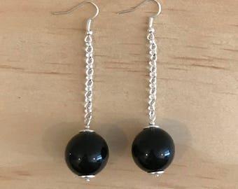 Black Basics Acrylic Ball Chain Drop Statement Earrings - Free Shippings Worldwide