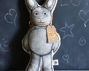 OOAK Stuffed Bunny, Plush Pillow, Self Care, Anxiety Relief, Wellness