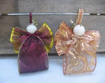 Sheer Fabric Ribbon Angel Ornament / Copper or Cranberry Ribbon Angel / Tree Ornament / Christmas Angel / Christmas Decor / Secret Santa