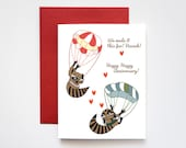 Sky Diving Raccoons Happy Anniversary Love Greeting Card