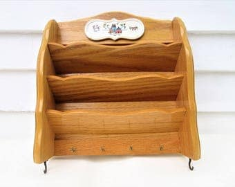 Vintage Wooden Mail and Key Holder | Wood Wall Mail Organizer | Mail Sorter Rack