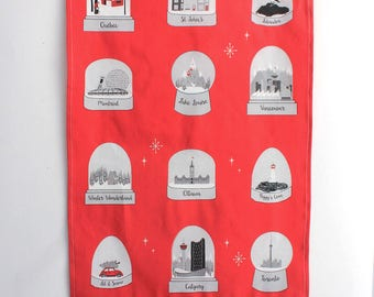 Canadian cities snow globe tea towel- Black and white on red