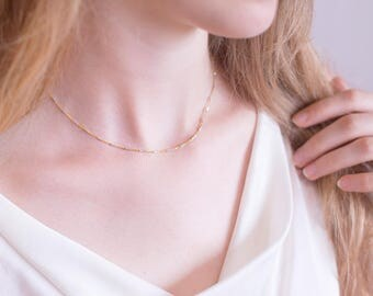Simple Mixed Metal Chain Necklace, Delicate 14k Gold Filled and Sterling Silver Chain, Silver Gold Necklace, Minimalist Choker, Friend Gift
