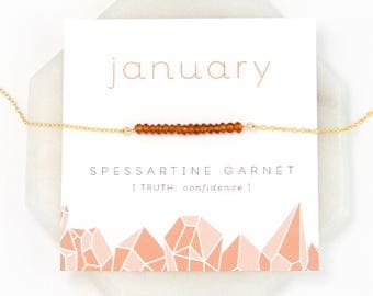 January Birthstone Necklace, Spessartine Garnet Necklace, Gold Bar Necklace, Christmas Gift, Chakra Gift, Healing Crystals, Friend Gifts