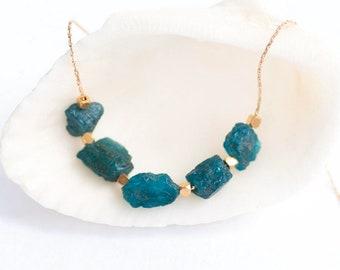 Raw Neon Apatite Necklace, Gemstone Necklace, Raw Aqua Stone Bar Necklace, Raw Stone Necklace, Layering Necklace, Boho Chic Necklace, Unique