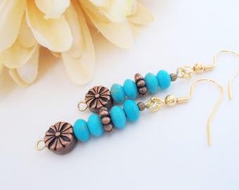 Turquoise Earrings, Boho Beaded Earrings Copper, Mothers Day Gift for Aunt, Hippie Earrings Bohemian, Mom Gift Mom, Birthday Gift for Women