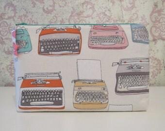 Typewriters Zipper Pouch // Bright, Retro, Travel & Organizer Pouch