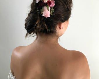 Burgandy Ivory Decorative Hair Comb Bridal Hair Comb Wedding Hair Comb Deep Red Hair Comb Winter Wedding Hair Comb Pink Hair Comb Ivory Comb