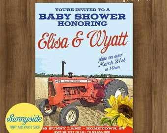 Country baby shower invitation, farm tractor baby shower invite, farming baby boy printable invitation with red orange tractor