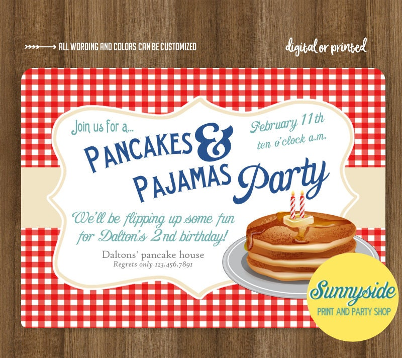boys pancakes and pajamas birthday party invitation breakfast
