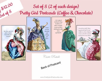 Set of 8 Pretty Girl Postcards ~ Coffee & Chocolate ~ Funny Postcards ~ Marie Antoinette Cards ~ Funny Quotes ~ Funny Sayings