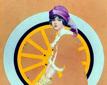 "Fadeaway Lady, 5""x7"" Greeting Card, Envelope, Coles Phillips, Tire, Oil Can, Art Deco, Car, Forgotten Art Card, Pretty Girl Postcards"
