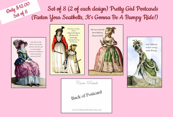 Set of 8 Pretty Girl Postcards ~ Feminist Politics ~ Fasten Your Seatbelts, It's Gonna Be A Bumpy Ride ~ Funny Postcards ~ Funny Quote
