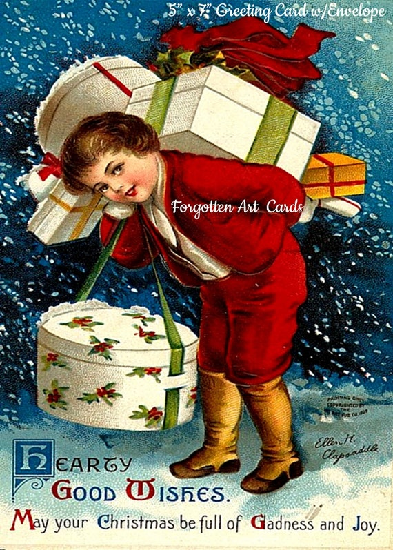"Hearty Good Wishes,  5"" x 7"" Greeting Card with Envelope, Victorian Christmas Card, Christmas Presents, Pretty Girl Postcards"