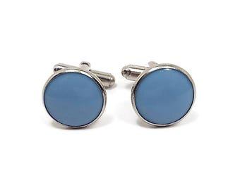 Blue Vintage Cufflinks Mid Century 1950s 50s Round Plastic Front Silver Tone