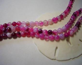 4mm Agate beads, pink, 4mm round beads, 4mm gemstone, natural Agate beads, pink striped Agate, white, pink, round beads, Agate beads, rose