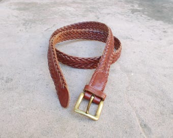 Vintage Womens Size 34 Medium Large Polo Ralph Lauren England Brown Leather Woven Braided Belt Concho Boho Hippie Hipster High Waisted Belt