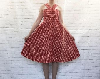Vintage 70s Scandinavian Heart Print Halter Trapeze Midi Dress Red Cotton Sundress