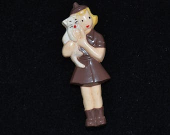 Vintage 1950s Brownie Scout with Cat Plastic Brooch