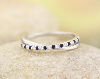 Stackable style Blue Sapphire and diamond Milgrain Wedding Band Ring   In 14k White  ,Rose or Yellow Gold ST233884 Gem1269