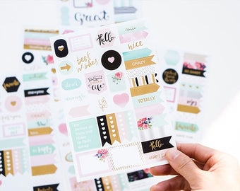 S224 Planner Stickers Sheets With Gold Foil (Choose Designs), journal stickers, journal spot, paper stickers, quotes sticker, diary sticker