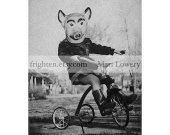 Creepy Halloween Art, Black and White, 8.5 x 11 Inch Print, Halloween Decor, Girl in Pig Mask, Weird Wall Art, Collage Print