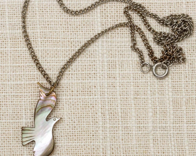 Dove Necklace Vintage Silver Mother of Pearl Grey Gray Chain Costume Jewelry 7L