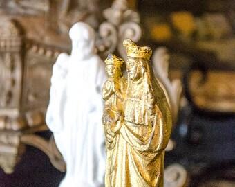 Vintage Pr Religious Statues, French St. Anne de Beaupre, Spelter, Porcelain St. Joseph