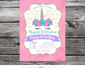 Unicorn birthday Invitation, Unicorn horns, unicorn crown Invitation, Baby Shower Invite, Purple Pink Teal Gold Unicorn watercolor flower