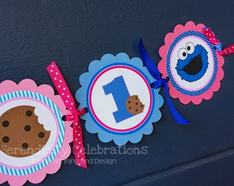 High Chair Banner -Cookie Monster high chair Banner -Photo Prop -High Chair Bunting -1st Birthday -Small Banner -Girl Cookie Monster Banner
