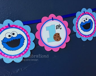Banner -Personalized Scalloped Word Banner -Cookie Monster Banner -Birthday -Baby Shower -Party Banner -Photo Prop -Girl Cookie Monster