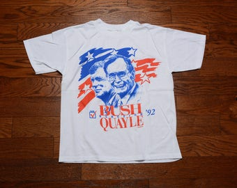 vintage 90s Bush Quayle t-shirt George H. W. Bush Dan Quayle tee shirt 1992 election republican politics 1990 vintage t-shirt L