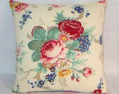 "Colorful Floral Pillow Cover, 17"" Square Cotton, Ralph Lauren Garden Club Fabric, Red Blue Yellow Green Cream Tones, Ready to Ship"