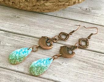 Chandelier blue green long copper Earrings  - Tribal Gypsy earrings - Bohemian boho Earrings - turquoise blue dangles earrings - Unique Gift