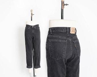 "Vintage Levi's 560 JEANS - Black Denim Loose Fit Straight Leg Mom Jeans 27"" x 26"" - Extra Small"