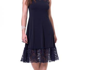 Navy blue dress Prom blue dress Lace blue dress Blue bridemaids dress Midi blue dress Knee length evening dress