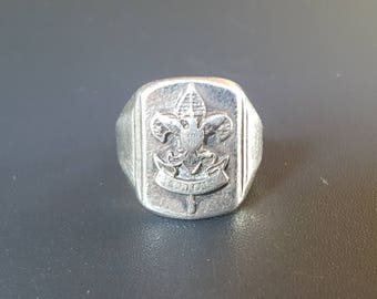 "Boy Scout Fleur De Lis Vintage Ring Sterling Silver ""Be Prepared"" Size 5"