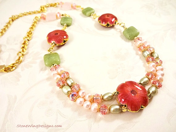 Pink and Green Pearl, Swarovski and Gemstone Statement Necklace