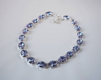 Swarovski Alexandrite Crystal Collet Necklace, Light Purple Crystal Rivere Necklace, Alexandrite Purple Necklace, Pale Purple Crystal Jewel