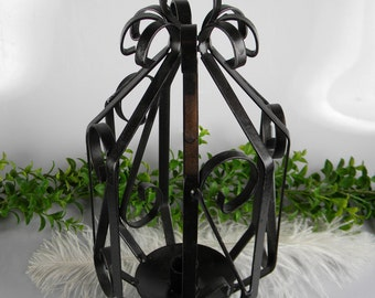Vintage Black Iron Metal Candle Holder - Unique Lantern style with loop for hanging