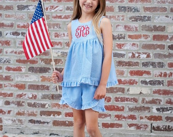 Independence Day Dress, Summer Top, Fourth of July, Americana, Beach Seersucker | Baby, Toddler, Girl | Farrah Sleeveless