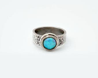 Opal Ring - Pure Silver Ring, PMC Jewelry, PMC Ring