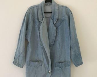 Vintage Oversized Denim Blazer