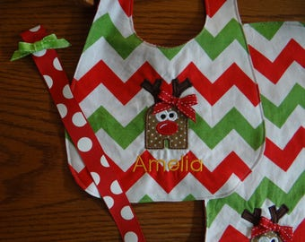 Personalized Christmas Bib with Reindeer Applique