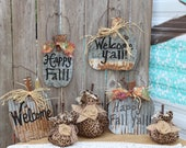 Rustic Fall Pumpkin Tin Sign, Happy Fall Y'all, Happy Fall, Welcome signs, Autumn decor, rusty tin, porch decor, door hanger, rustic decor